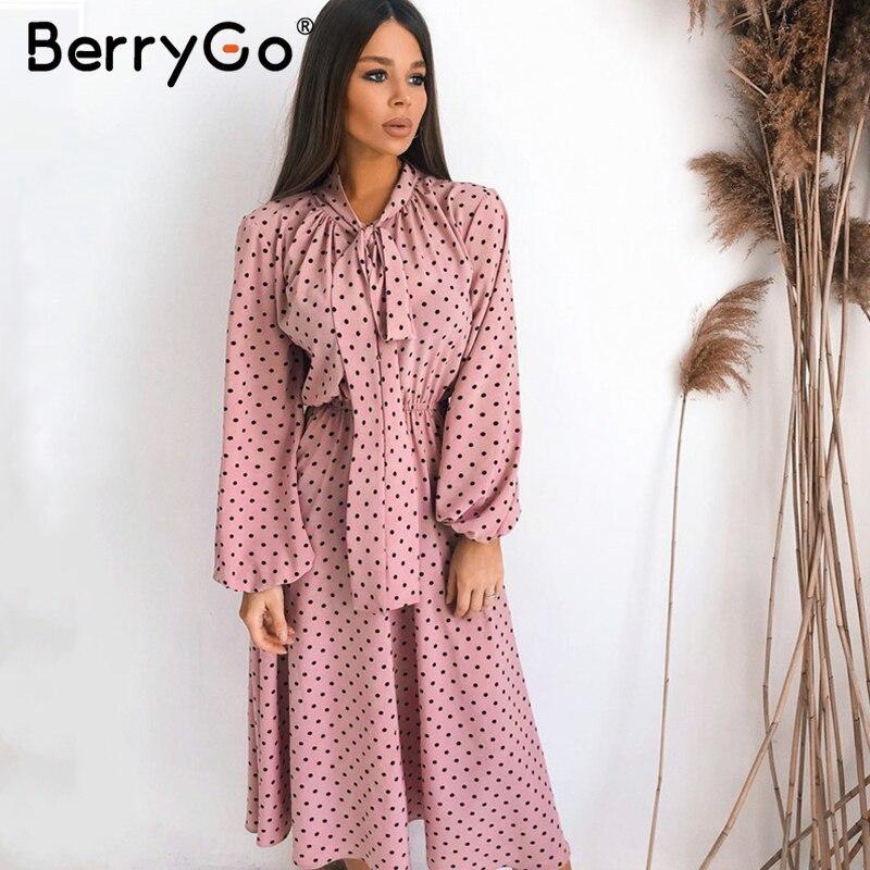 BerryGo Elegant Polka Dot Maxi Dress Women Loose Holiday Ladies Chic Bow Party Dresses Autumn Winter Lantern Sleeve Female Dress