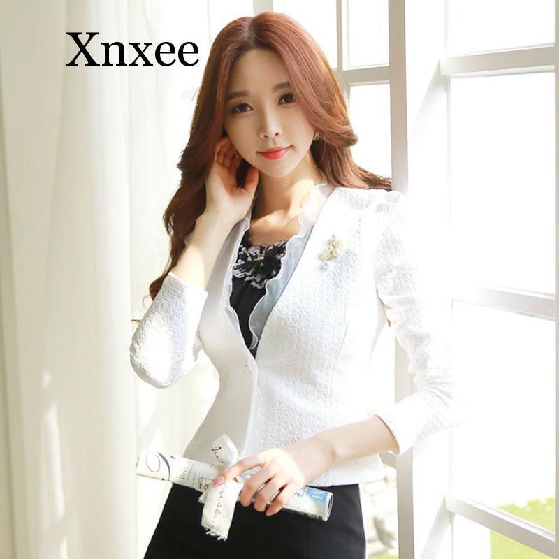 Spring Autumn Women Blazer White Mesh Bordered Ruffled Slim Single Button Short Blazer Long Sleeve Jacket Coat Outwea kawaii