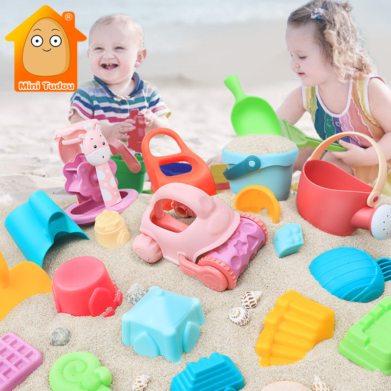 Baby Beach Game Toy Plastic Sandbox Tool Kit Play Sand Water Swimming Pool Shower Play Cart Summer Game Toys For Children Gift