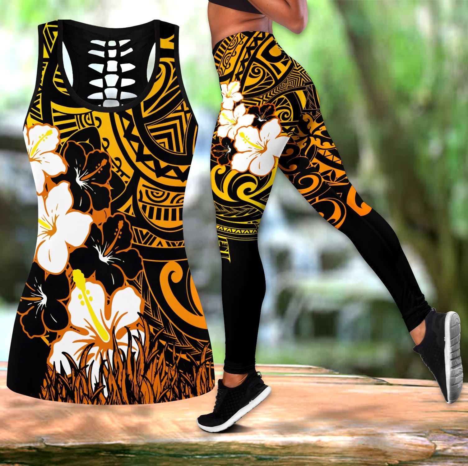 Pohnpei Polynesian Tattoo Turtle Flowers 3D All Over Printed Legging & Tank top Sexy Elastic Female Skinny Leggings DDK42