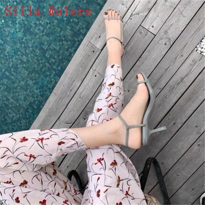 Trendy Dünne Wort Band Frauen Sandalen 2019 Einfache High Heels Leder Gladiator Sandalen Frauen Sommer Schuhe Frau alias mujer - 4