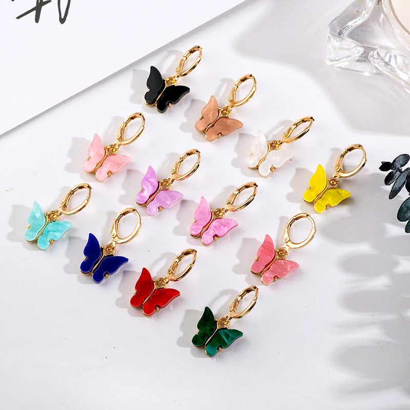 韓国ポップチャーム12色ドロップイヤリングアクリルかわいい蝶のイヤリング女性のイヤリングファッションジュエリー甘いギフト卸売