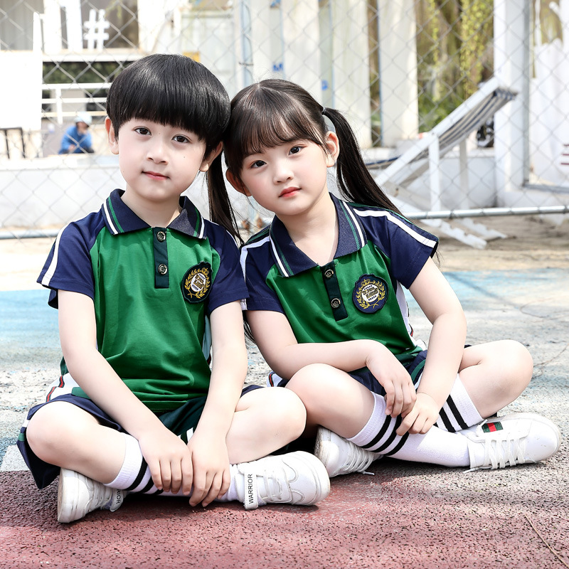 Kindergarten Suit Summer Wear New Style Young STUDENT'S School Uniform Business Attire Summer Short-sleeved School Uniform Kinde