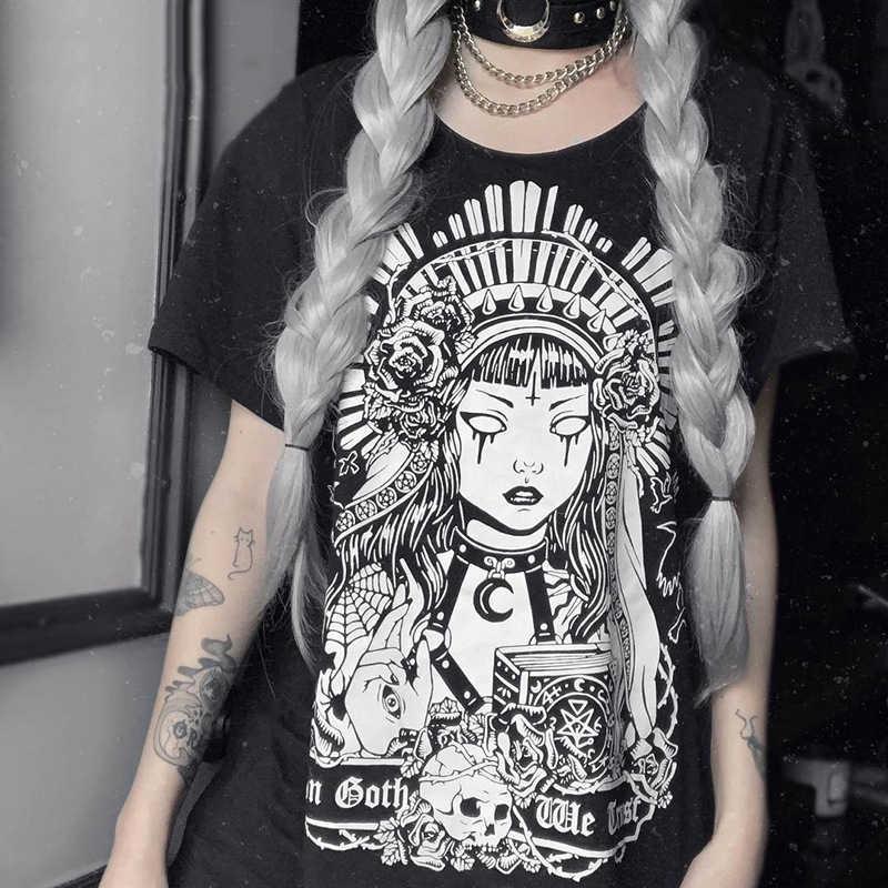 Gót Đậm Grunge Đen Áo Thun In Gothic Rời Punk Harajuku Dạo Phố Mùa Hè 2019 Áo Thun Nữ Thời Trang Thẩm Mỹ Áo