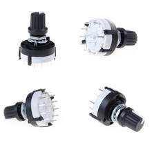 Hitam 1 PC 3P4T Single Deck Rotary Switch Band Selector 3 Pole 4 Posisi dengan Tombol(China)