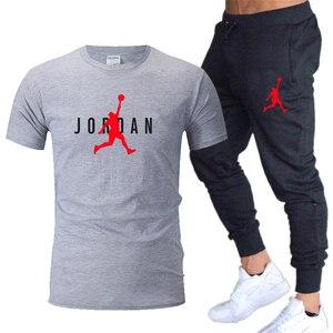 Funny Jordan23 brand men's T-shirt + breathable trouser suit 2021 summer jogging pants T-shirt sportswear streetwear Harajuku to