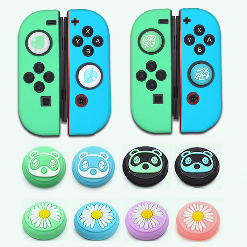 Animal Crossing Girl Flower Leaf Thumb Stick Grip Cap Joystick Cover For Nintendo Switch Lite Joy-Con Controller Thumbstick Case