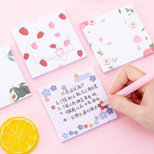 80sheets Korean Ins Flower Avocado Fruit Memo Pad Girl Sticky Notes Students Message Post Notepads Stationery  Kawaii Decor