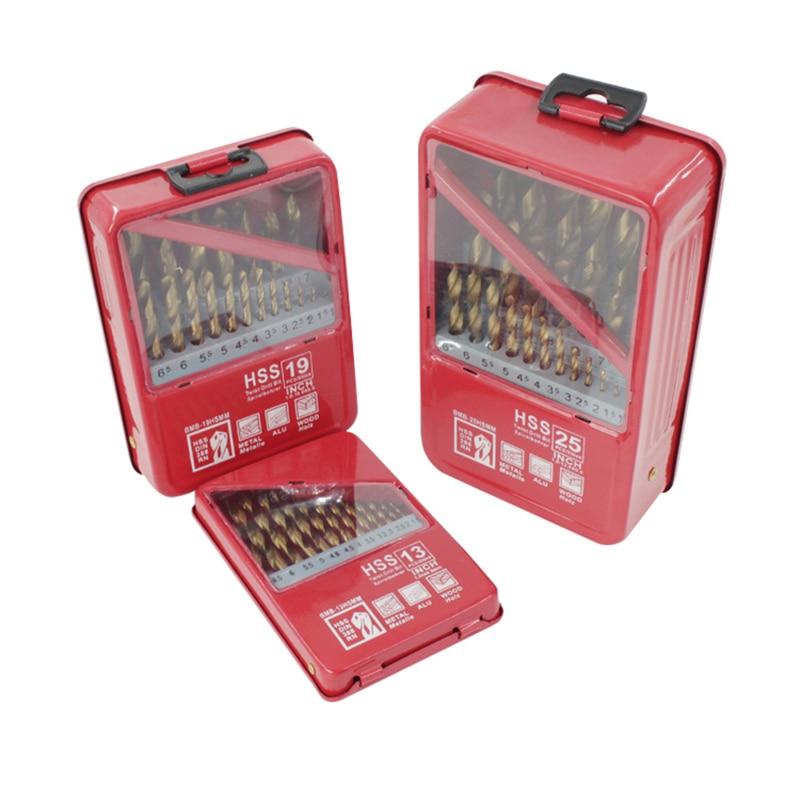 1.0~13mm HSS Twist Drill Bit Set Coated Titanium Metal Wood Working Drilling Power Tools 13/19/25PCS Set Handle Tool