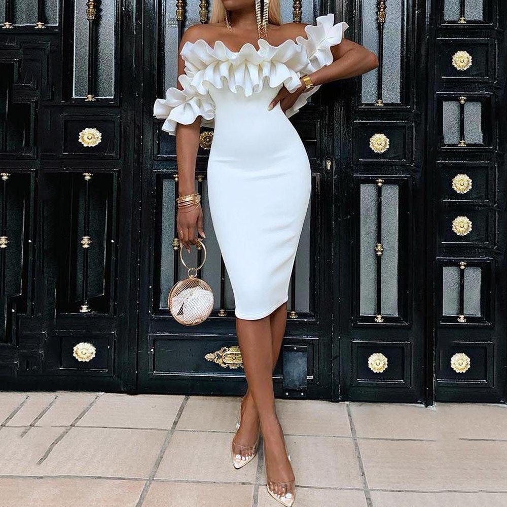 2018 Women Summer V-Neck Ruffles Shoulder Bodycon Party Cocktail Midi Dress Club
