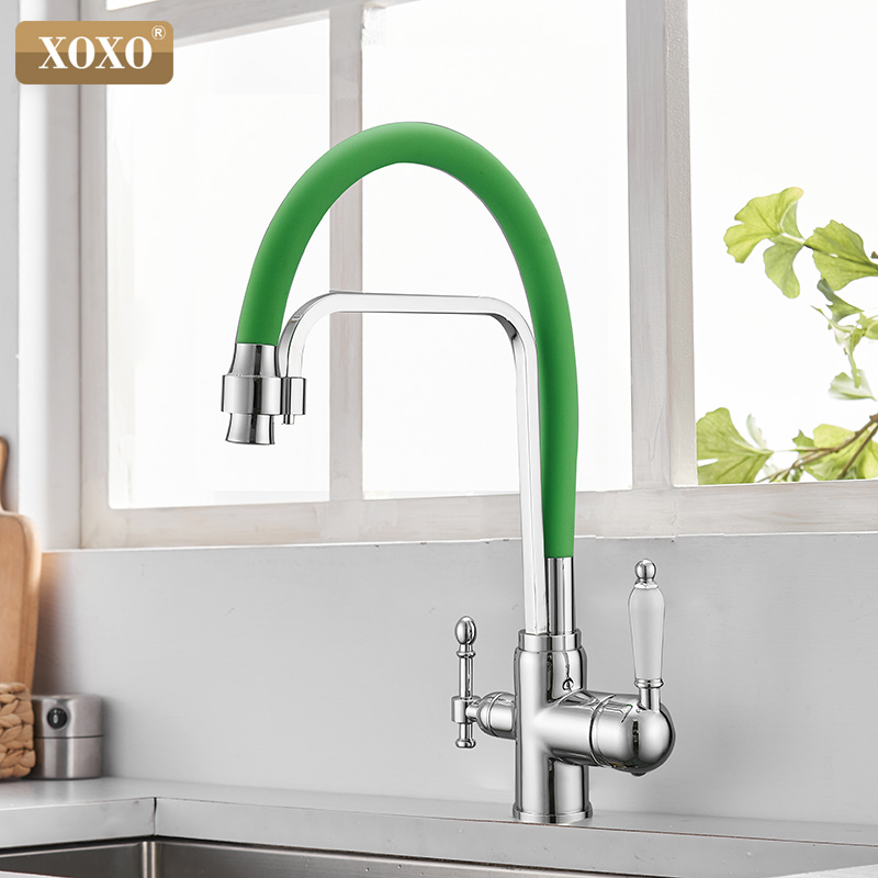 XOXO Filter Kitchen Faucet Drinking Water Black Deck Mounted Mixer Tap Cold And Hot Pure Water Filter Kitchen Sinks Taps 82018