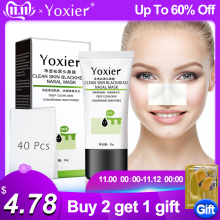 Yoxier Remove Blackhead Mask Nose Pore Cleanser Peeling Acne Treatment Deep Cleansing Skin Care Face Mask 1Pcs+40Pcs Paper