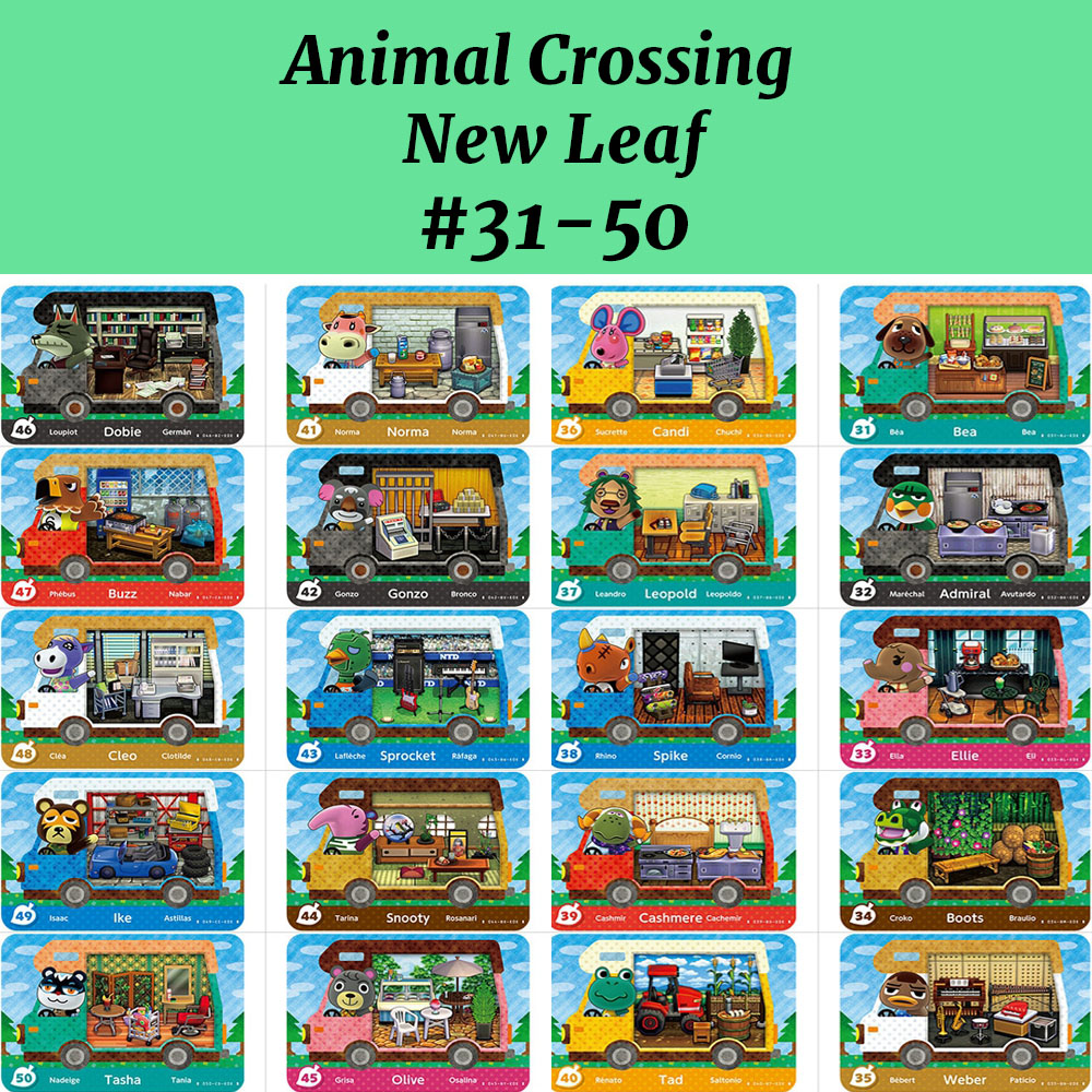 Animal Crossing New Leaf Welcom Amiibo Card (31-50) NFC Card Work For NS Games