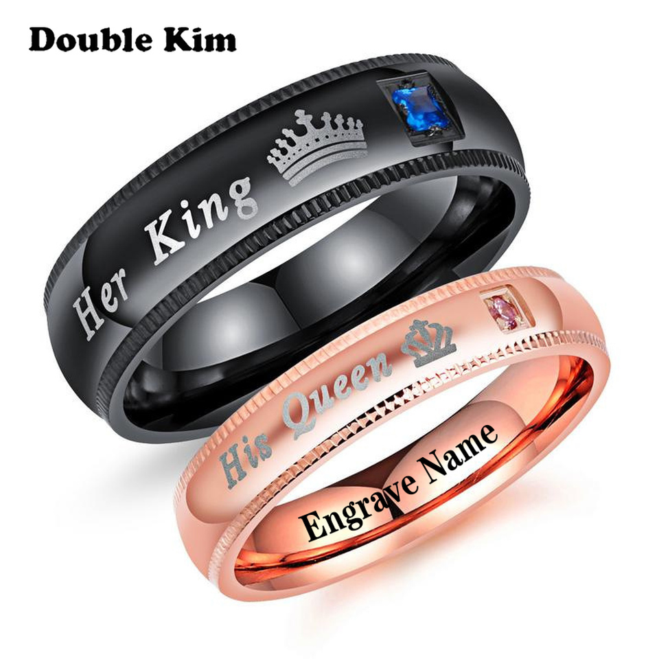 Custom Her King His Queen Couple Rings With Crown DIY Engrave Name Stainless Steel Women Men Lover Wedding Rings Jewelry Gift