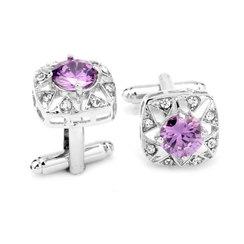 French Purple Zircon Square Cufflinks 1