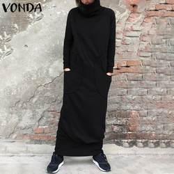Winter Dress Women Sweatshirt Dress 2021 VONDA Pockets Turtleneck Long Sleeve Robe Femme Casual Loose Sweater Plus Size Vestidos