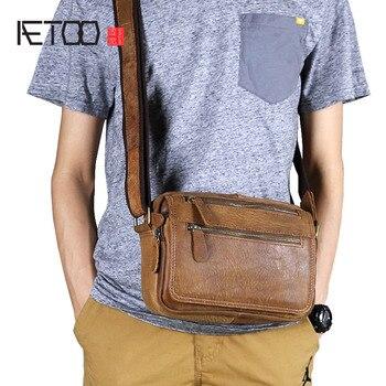 AETOO Men's Shoulder Bag Casual Leather Small Messenger Bag Retro  Head Leather messenger bag vintage brown bag цена 2017