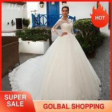 Suknia ślubna Ashley Carol suknia ślubna 2020 z kurtką 2 w 1 aplikacje z długim rękawem Lace Up księżniczka Bride suknie Vestido De Noiva
