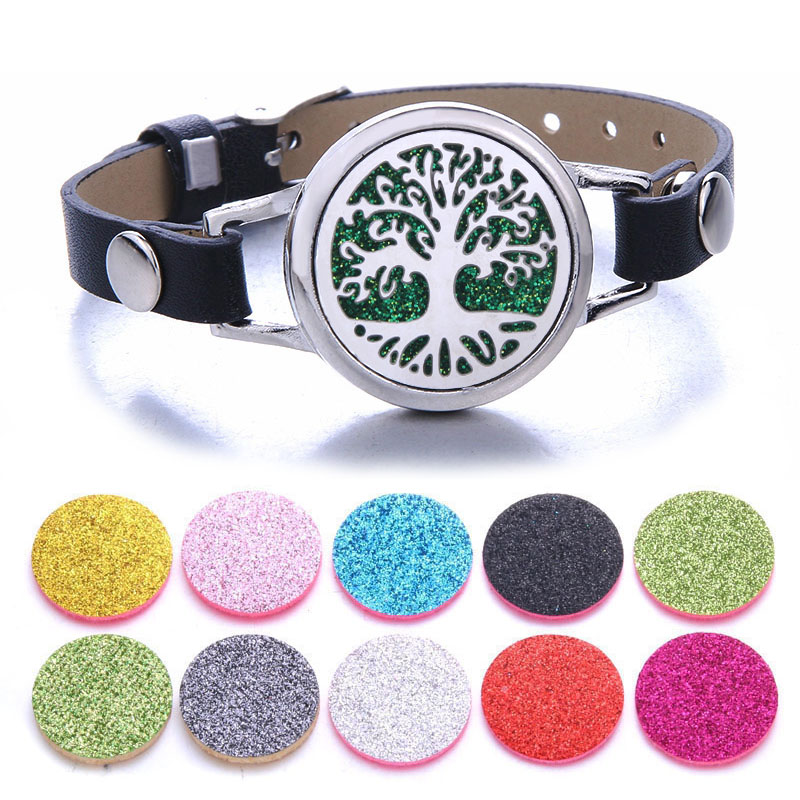 Tree Of Life Aromatherapy Jewelry Essential Oil Diffuser Locket Leather Bracelet Magnet Stainless Steel Perfume Aroma Bracelet