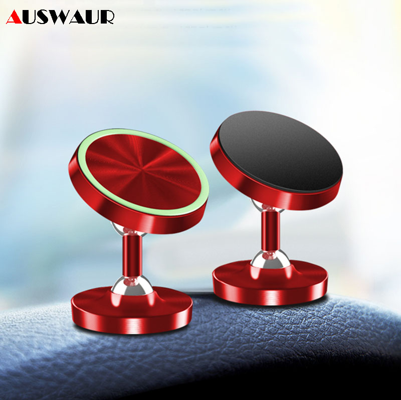 Magnetic Car Mount Phone Holder 2 Point Balls 360 Rotate Luminous Car Dashboard Mobile Phone Holder Cradle