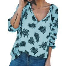 Women Loose V Collar Button Summer Cartoon Print Loose Long Sleeve Casual Simple Wild T-Shirt цена в Москве и Питере