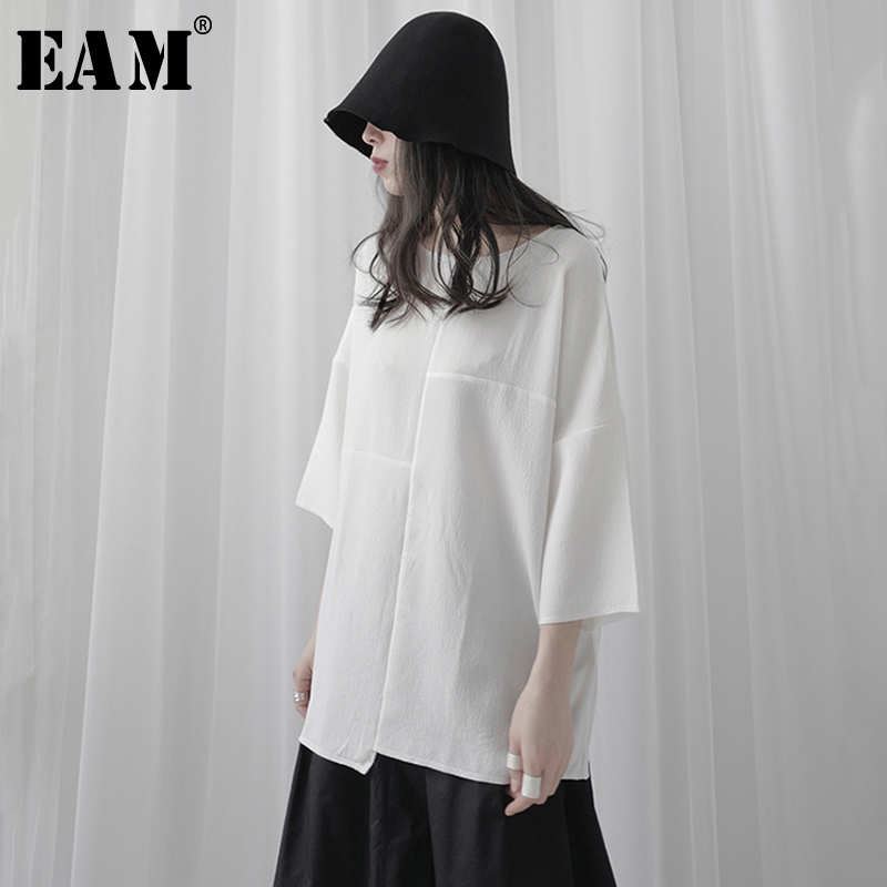 [EAM] Women White Split Joint Brief Big Size T-shirt New Round Neck Three-quarter Sleeve  Fashion Tide  Spring Summer 2020 1T125 1