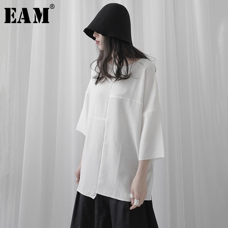 [EAM] Women White Split Joint Brief Big Size T-shirt New Round Neck Three-quarter Sleeve  Fashion Tide  Spring Summer 2020 1T125 1