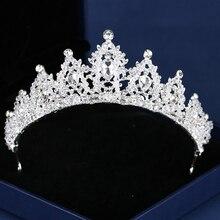 Bridal Crown Silver Color Rhinestone Crystal Wedding Crown Princess Headdress Bridal Handmade Hair Accessories Wedding Crown