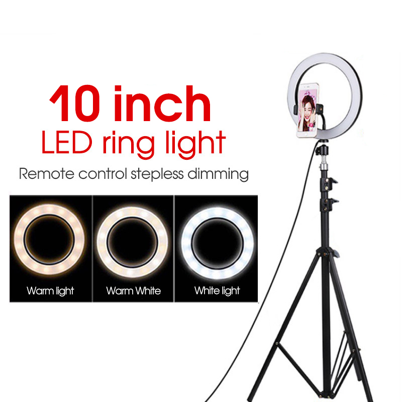 Photography LED Selfie Ring Light Dimmable Camera Phone Ring Lamp With Stand Tripod For Makeup Video Live Studio Yutube 10 Inch
