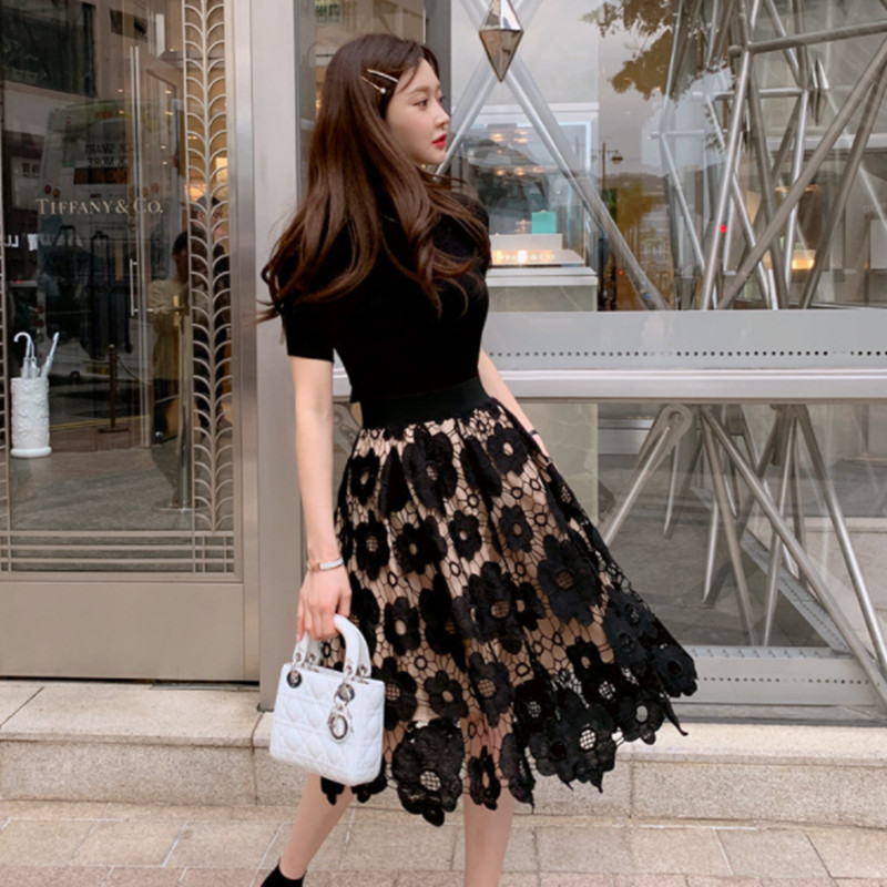 Fashion Elegant O-neck Knitted Tops And Lace Skirt 2 Piece Set Floral Crochet Hollow Ball Gown Knee-length Skirt Sets 3 Colors