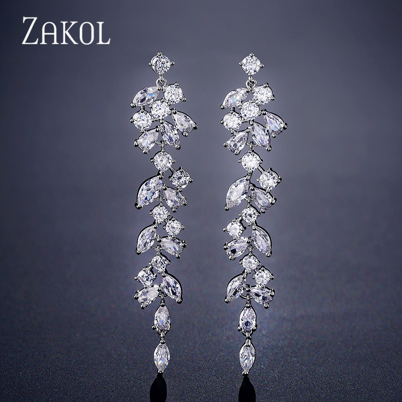 ZAKOL Newest CZ Zirconia Crystal Leaf Long Drop Earrings For Elegant Women Bridal Wedding Jewelry Accessories Gift FSEP2232