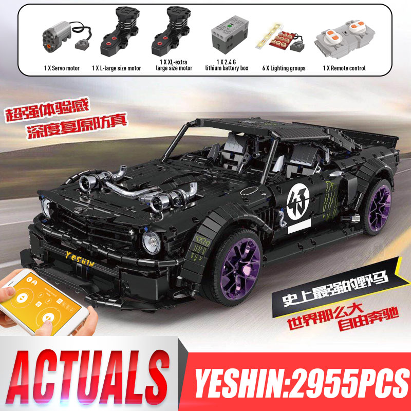 DHL 20102 Technic Motor Car Series Compatible With MOC 16915 Mustang Hoonicorn With Motor Function Kids