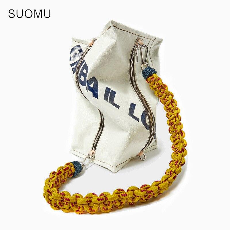 Grand grand sac jumbo femmes fille cool décontracté cuisse sac de messager 2019 été impression lettre tissage corde sacs à bandoulière blanc vert
