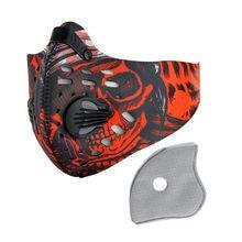 Deportes ciclismo máscara facial a prueba de vientos a prueba de polvo respiración boca máscaras de carbón activado de máscara de polvo + filtro de Halloween Cosplay