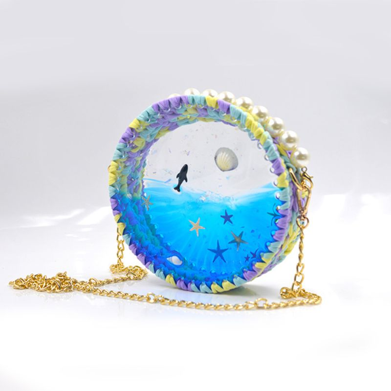UV Epoxy Mold For Woven Transparent Bag Hand-woven Crochet Wool Yarn DIY Material Package Y4QB