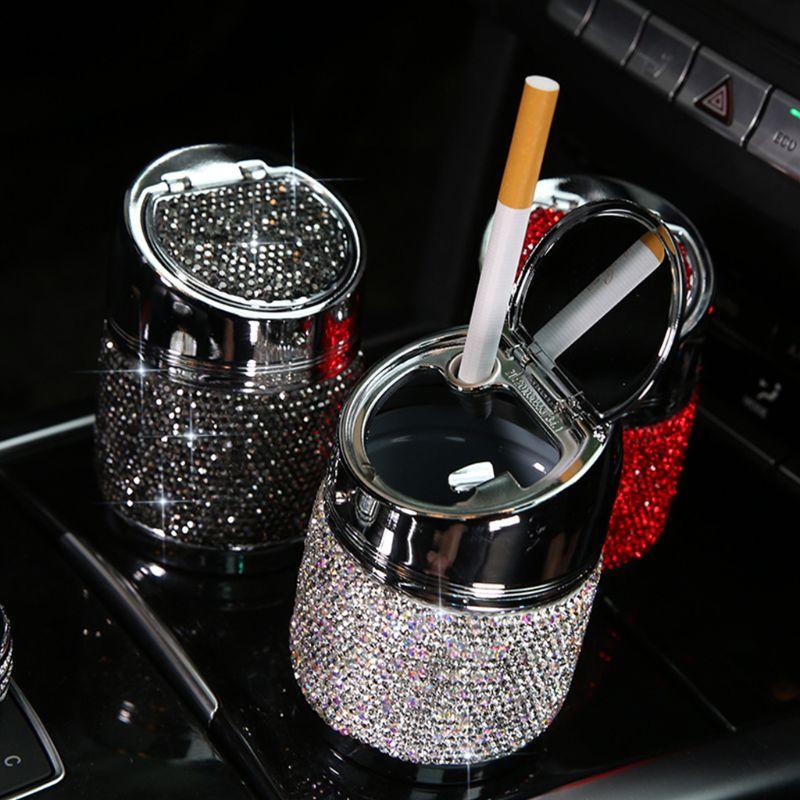 Car Ashtray Rhinestone Ashtray Cigarette Smoke Travel Stainless Steel Cigarette Ashtray Holder for Auto, Home, Office