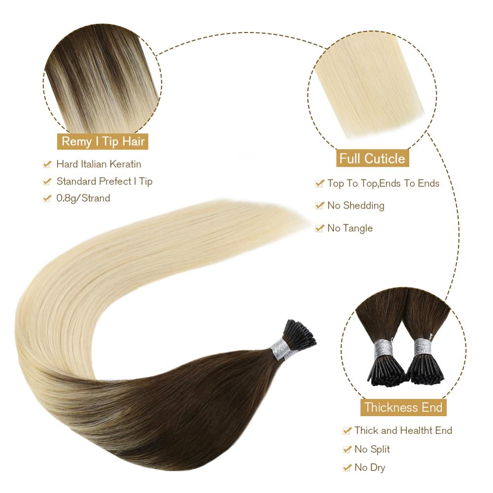 [17 colors] Ugeat I Tip Hair Extensions Pre Bonded Hair Machine Remy Fusion Hair 14-24 inch 40g/80g Straight 100% Human Hair