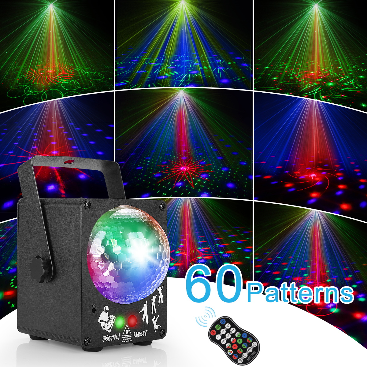 LED Disco Laser Light RGB Projector Party Lights 60 Patterns DJ Magic Ball Laser Party Holiday Christmas Stage Lighting Effect 4