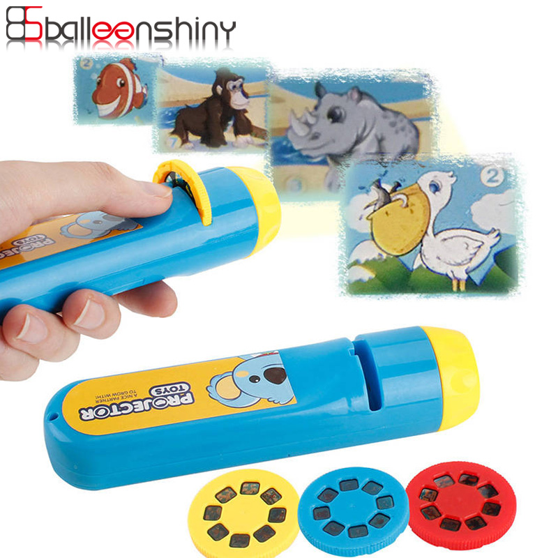 Balleenshiny 1pc Cartoon Animals LED Projection Flashlight Interactive Toy Gift Projector Mini Theater Fairy Tale Children's Toy