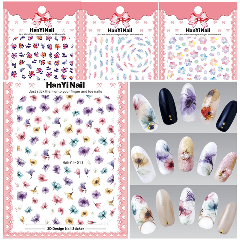 HanYi11-15 Ultra-Thin Nail Sticker Five-color Petal Feather Smudge Stick Manicure Set Japanese-style Manicure Fittings
