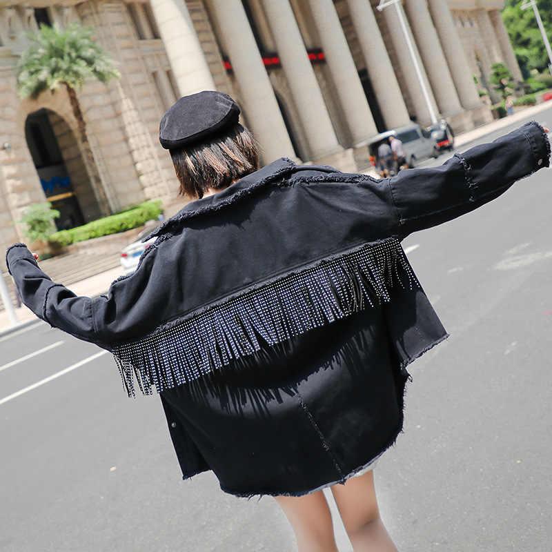 Chaqueta de mezclilla para Mujer, Abrigo negro con borlas, Chaquetas vaqueras para Mujer, tops sueltos para Mujer, abrigos de mezclilla de primavera 2020 para Mujer
