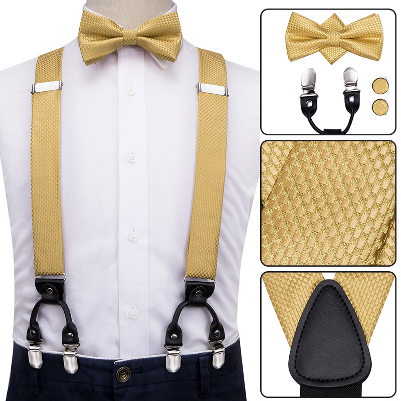 BD-3026 Hi-Tie Silk Adult Men's Bow Tie And Suspenders Set Leather Metal 6 Clips Braces Gold Solid Elastic Wedding Suspender Men