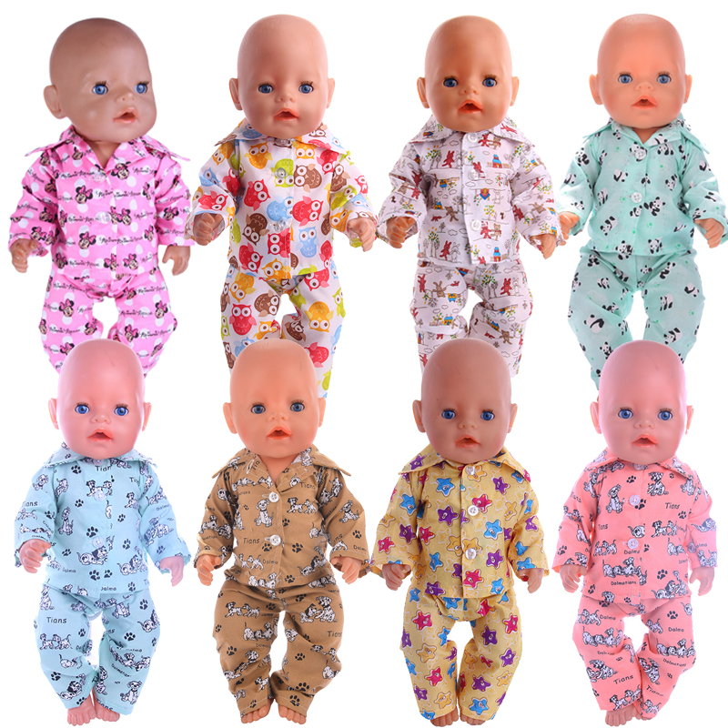 Doll Pajamas 15 Styles Pattern Clothes For 18 Inch American&43 Cm Born Baby Our Generation Christmas Birthday Girl's Toy Gift