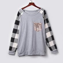Spring Fall Womens Tops O-Neck Long Sleeves Plaid Print Sequins Splicing Shirt Easy Tops Outdoor Streetwear Shirt  Clothing