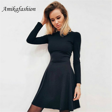 Autumn Winter Black Red Sweater Dress Women O-neck Long Sleeve A Line Thick Knit Mini Female Girl Short Bodycon 2019