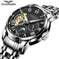 Guanqin masculino esqueleto tourbillon relógio automático masculino luxo 2019 relógios mecânicos homem preto mecânico-relógios