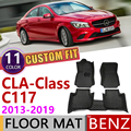 Кожаный автомобильный коврик на заказ для Mercedes Benz CLA Class C117 2013 ~ 2019 C 117 5 мест  коврик для ног  аксессуары для ковров 180 200 220 260