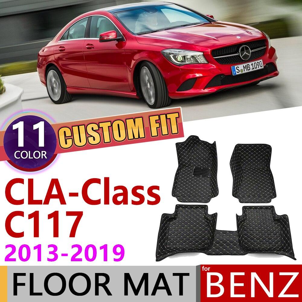 Custom Leather Car Floor Mat For Mercedes Benz CLA Class C117 2013~2019 C 117 5seats Foot Pad Carpet Accessories 180 200 220 260