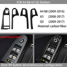 Carbon fiber car interior decoration, door lift button panel decoration, Suitable For Audi A4 B8 A5 Q5 2009-2016 car stickers,