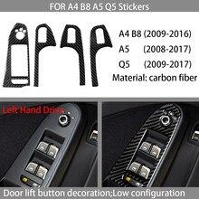 Carbon fiber car interior decoration, door lift button panel decoration, Suitable For Audi A4 B8 A5 Q5 2009-2016 car stickers,